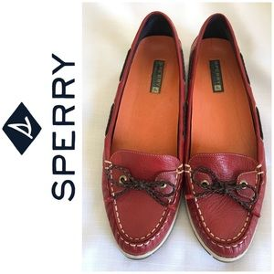 Sperry Maroon Moccasins 8.5M
